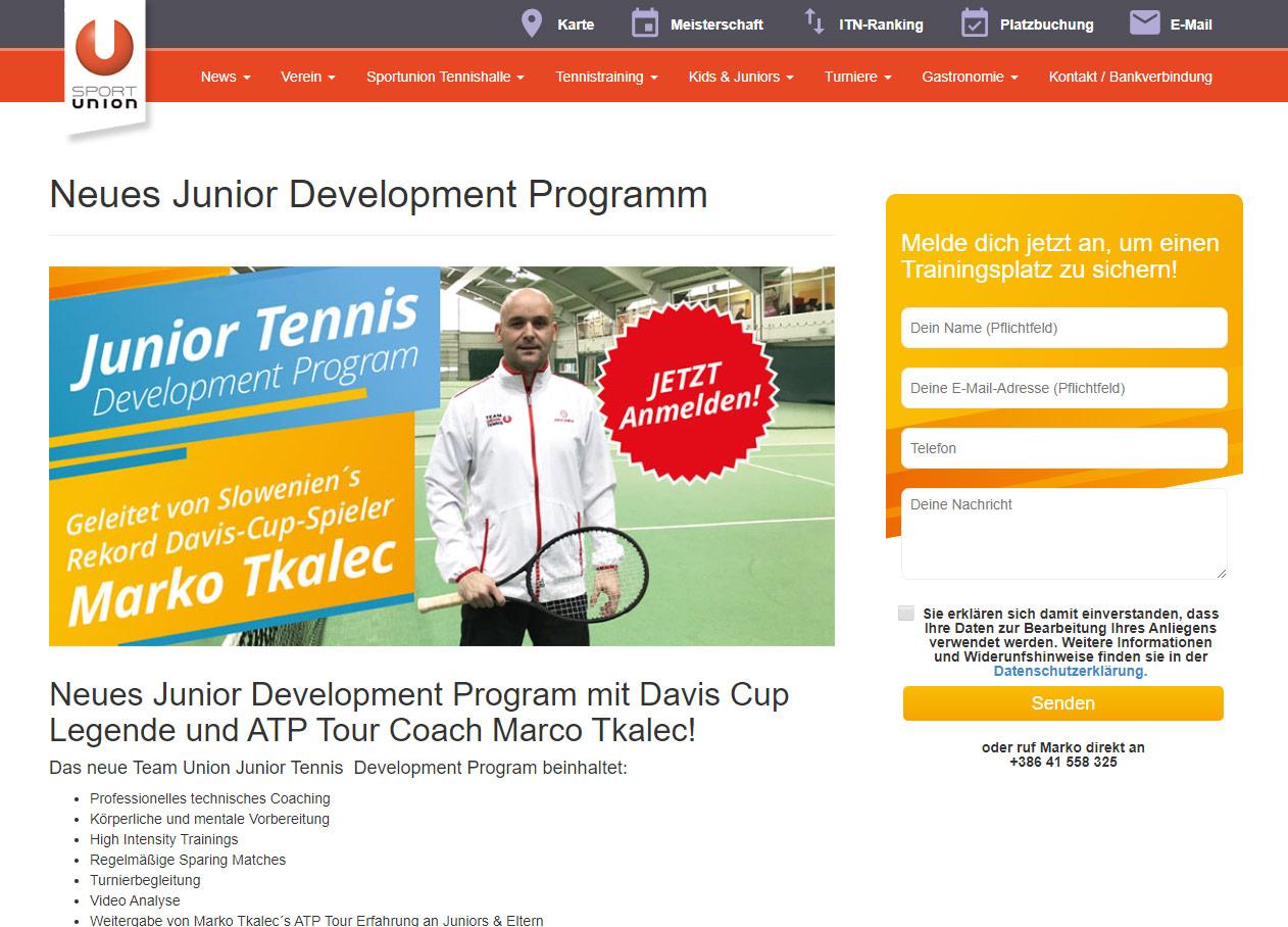 Sport Union website kids program
