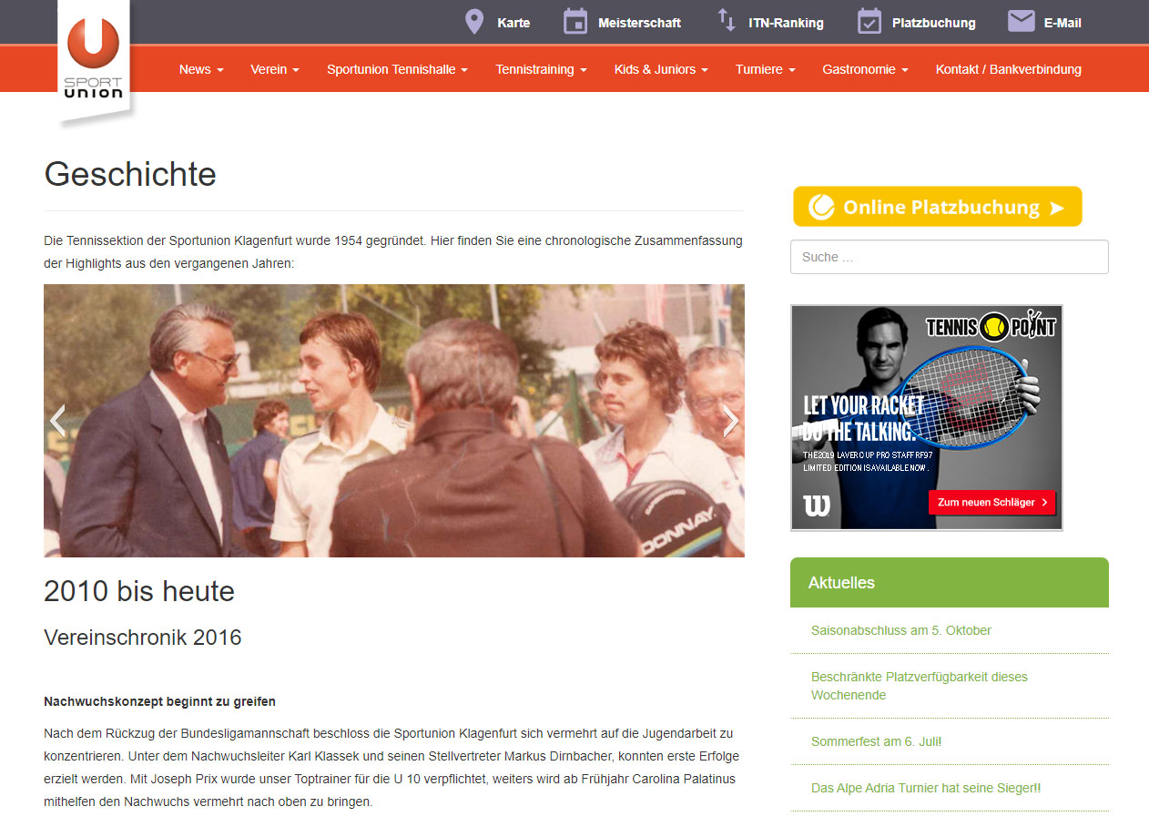 Sport Union website history page