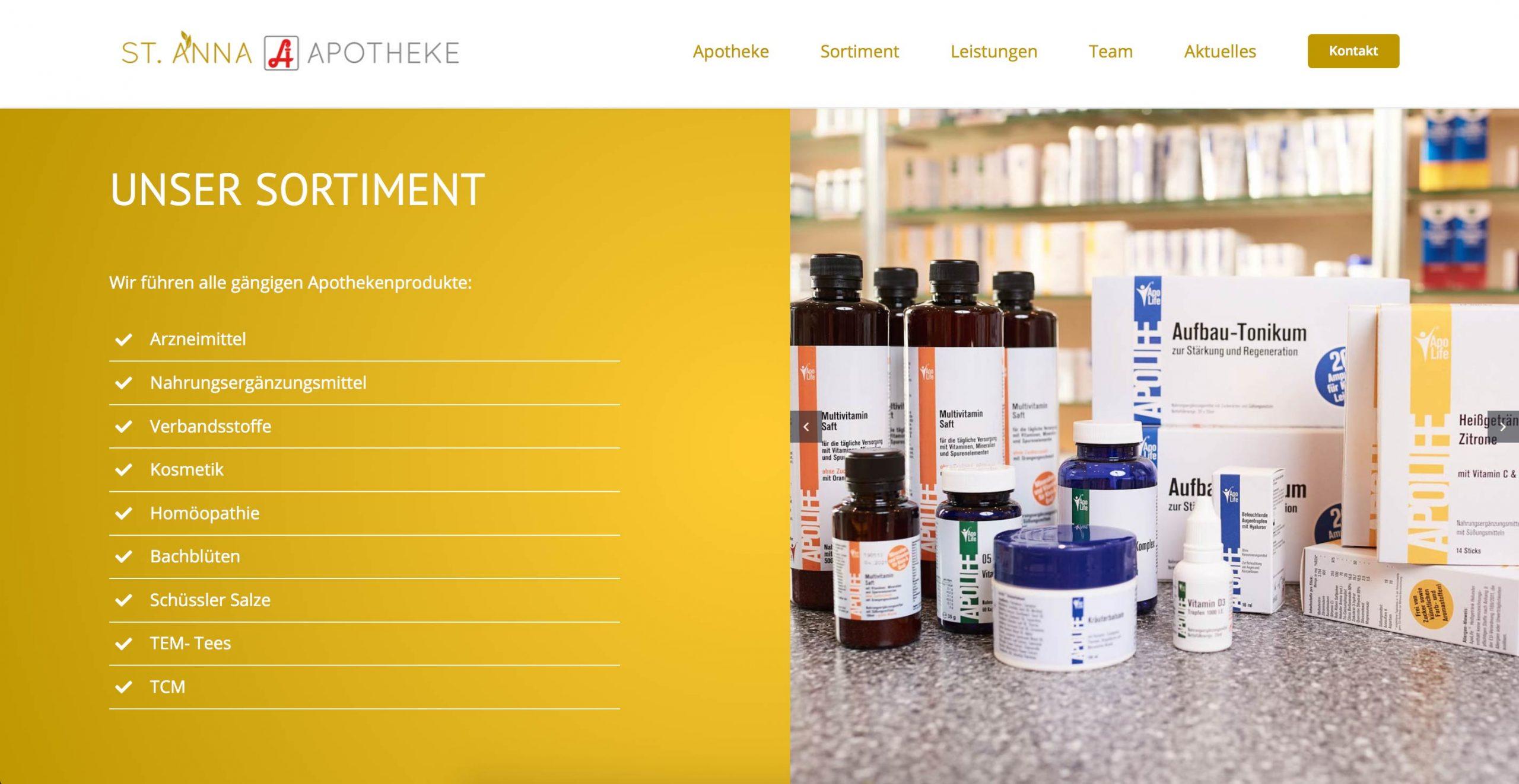 Markegy Webdesign Klagenfurt-Portfolio St. Anna Apotheke Wien Produkte