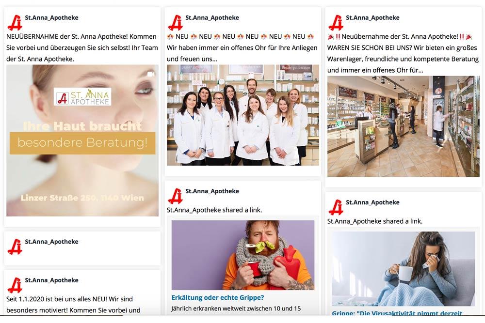 Markegy Webdesign Klagenfurt-Portfolio St. Anna Apotheke Wien Startseite der Webseite mit Social Media Einbindung