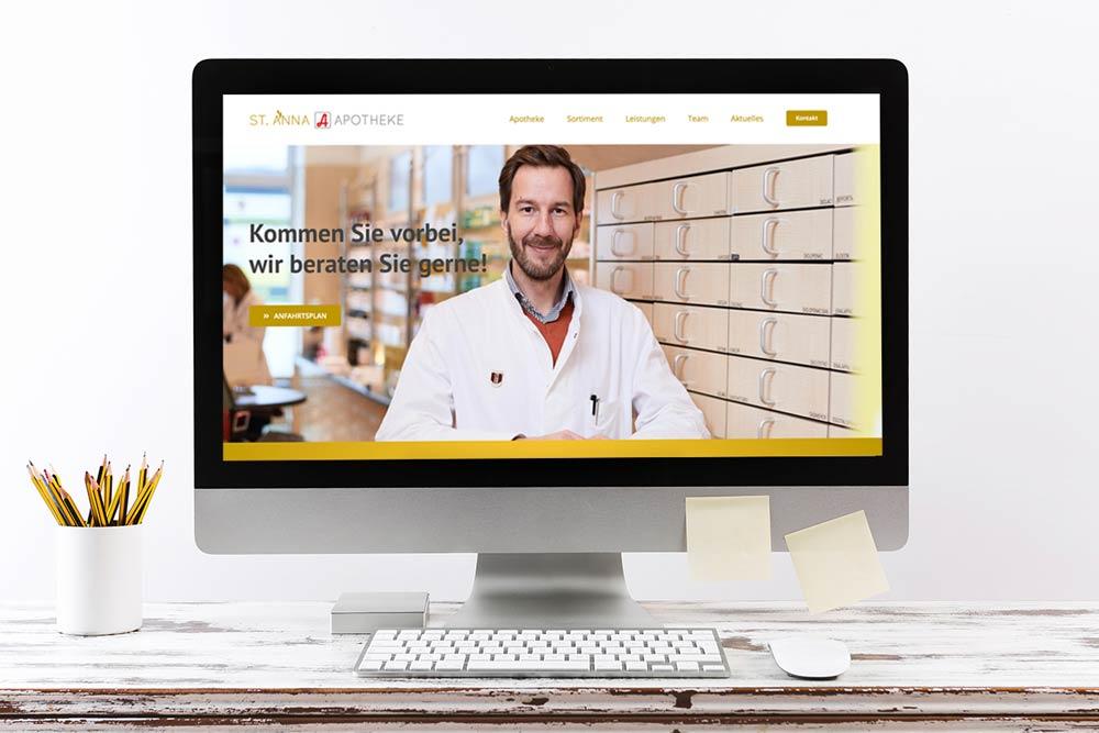 Markegy Webdesign Klagenfurt-Portfolio St. Anna Apotheke Wien Startseite der Webseite